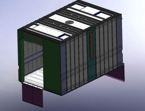 Modelo 3D paramétrico de cabina de montacargas.